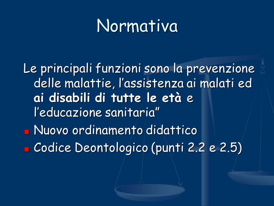 Normativa Le principali funzioni sono la prevenzione delle malattie, l'assistenza ai malati ed ai disabili di tutte le età e l'educazione sanitaria