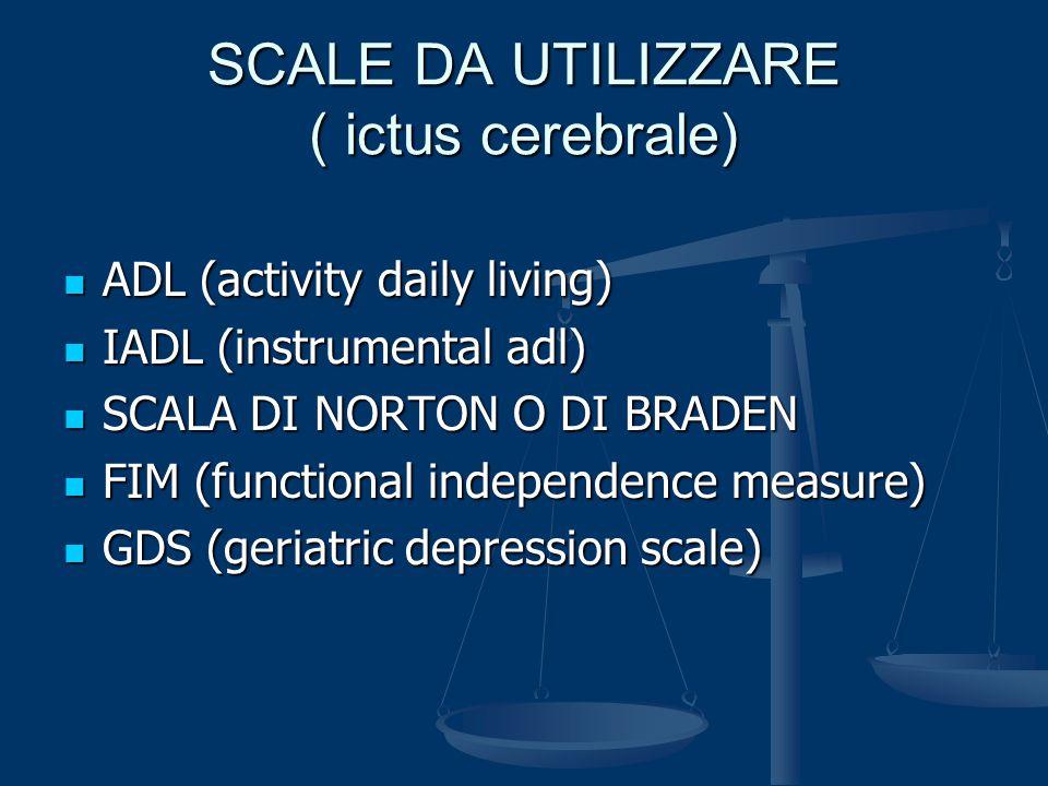SCALE DA UTILIZZARE ( ictus cerebrale)
