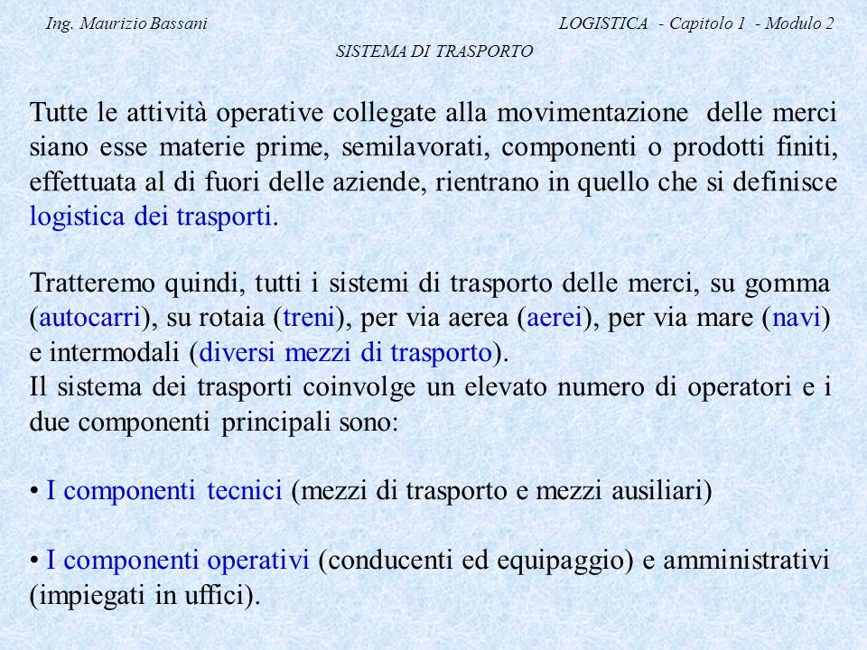 Ing. Maurizio Bassani LOGISTICA - Capitolo 1 - Modulo 2