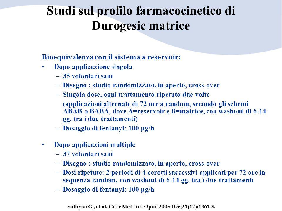 Studi sul profilo farmacocinetico di Durogesic matrice
