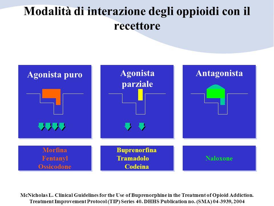Modalità di interazione degli oppioidi con il recettore