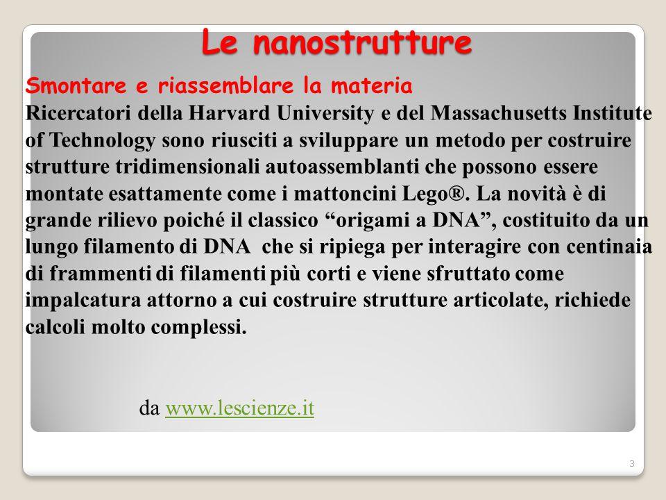 Le nanostrutture Smontare e riassemblare la materia
