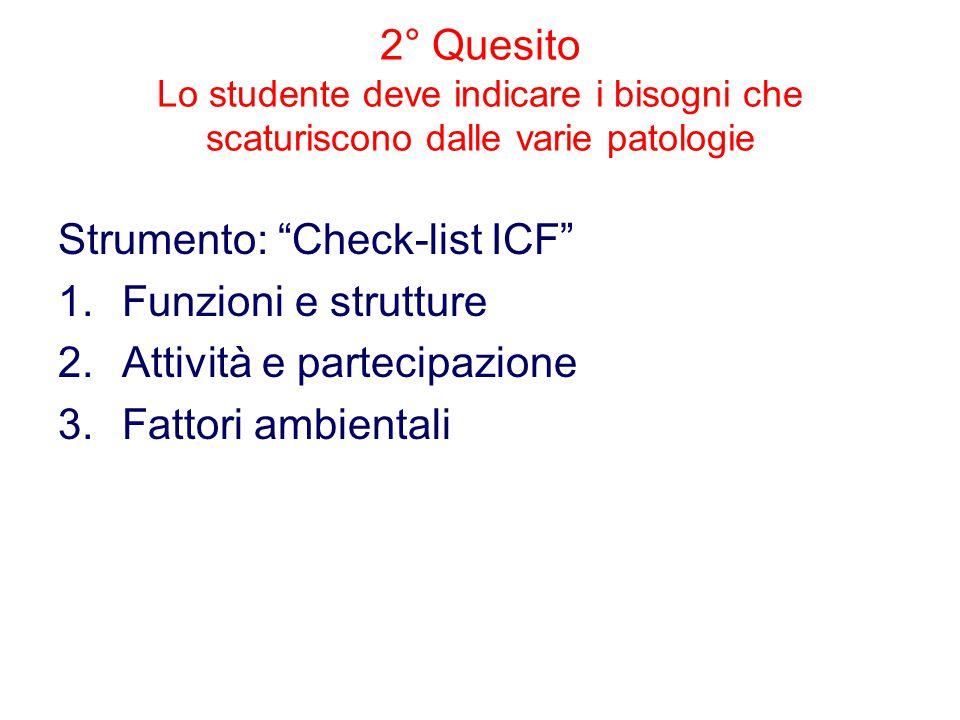 2° Quesito Lo studente deve indicare i bisogni che scaturiscono dalle varie patologie