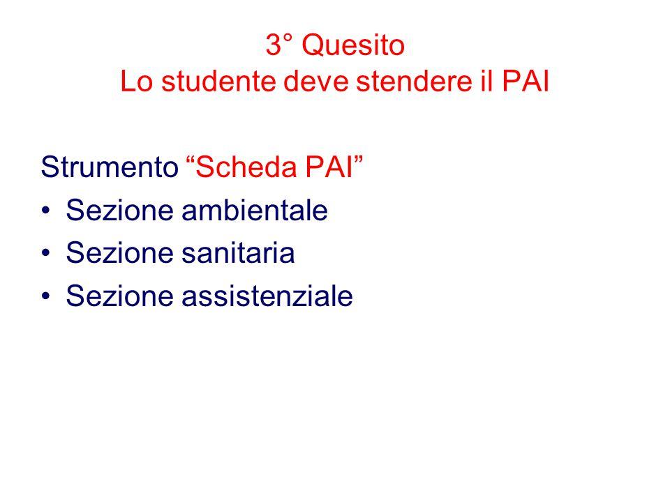 3° Quesito Lo studente deve stendere il PAI