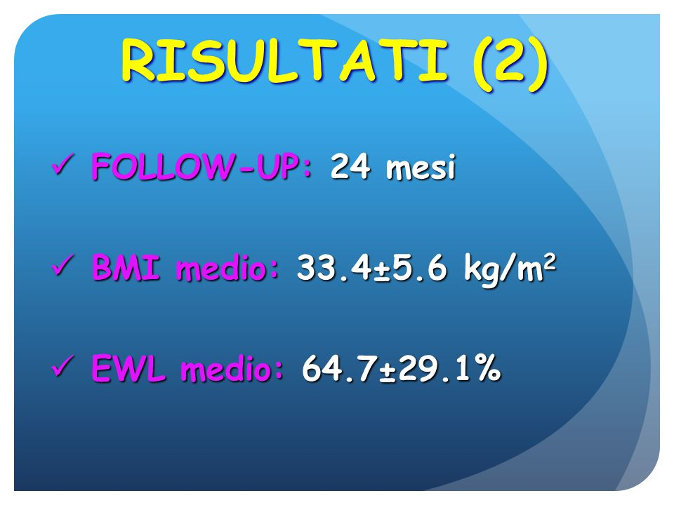 RISULTATI (2) FOLLOW-UP: 24 mesi BMI medio: 33.4±5.6 kg/m2