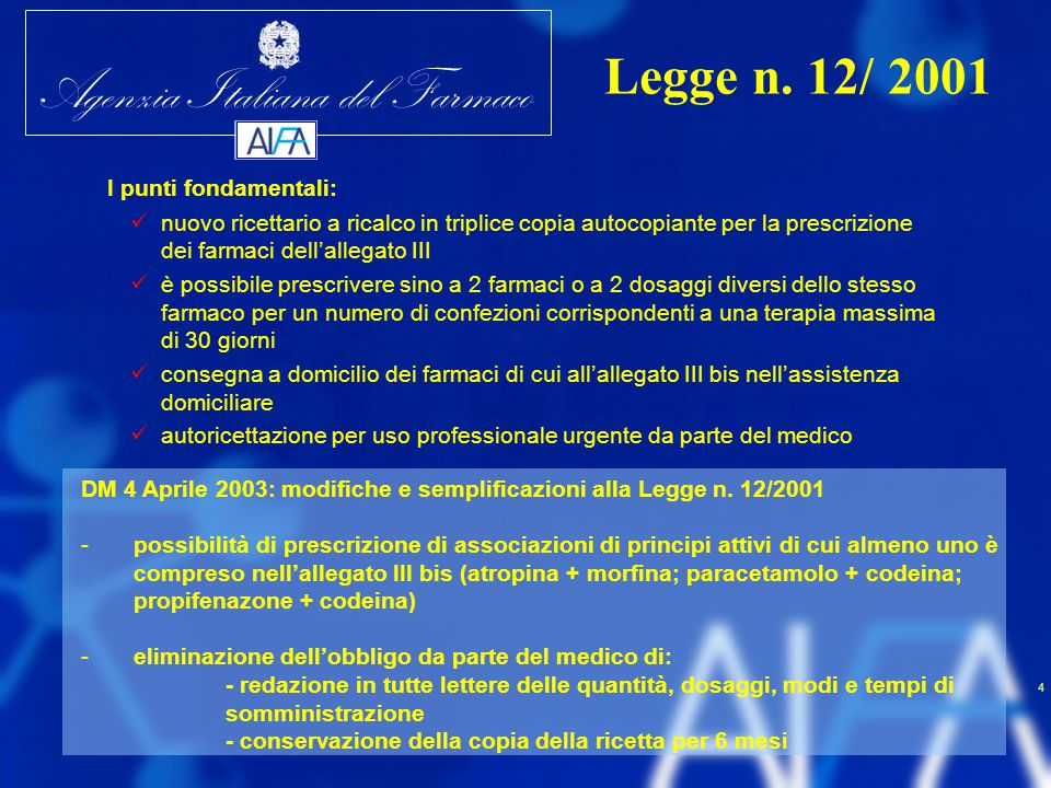 Legge n. 12/ 2001 I punti fondamentali: