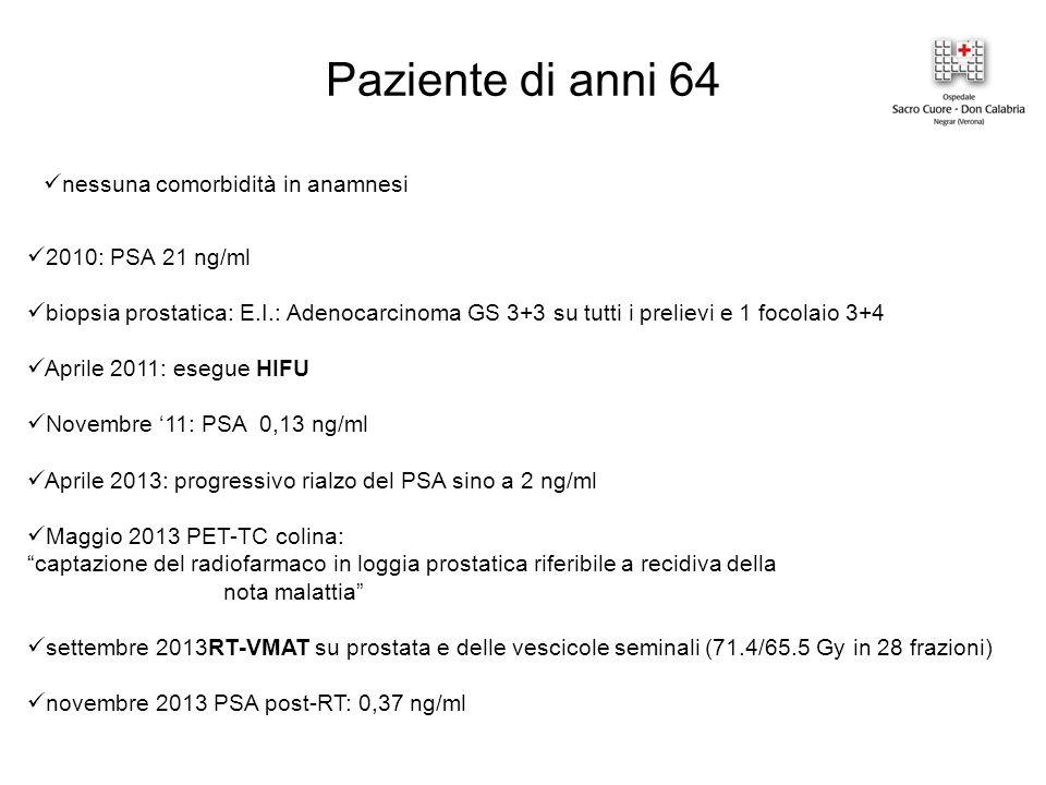 Paziente di anni 64 nessuna comorbidità in anamnesi 2010: PSA 21 ng/ml