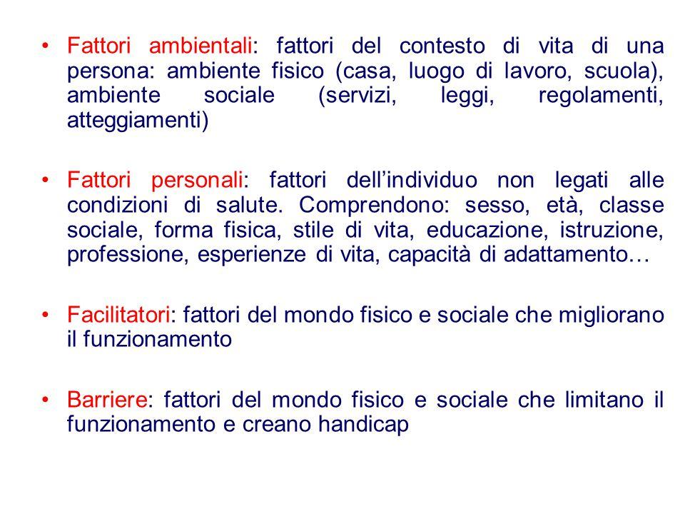 Fattori ambientali: fattori del contesto di vita di una persona: ambiente fisico (casa, luogo di lavoro, scuola), ambiente sociale (servizi, leggi, regolamenti, atteggiamenti)