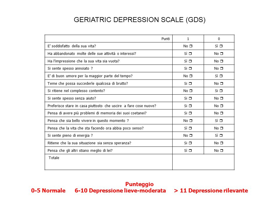 GERIATRIC DEPRESSION SCALE (GDS)