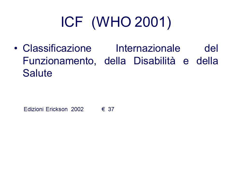 ICF (WHO 2001) Classificazione Internazionale del Funzionamento, della Disabilità e della Salute.