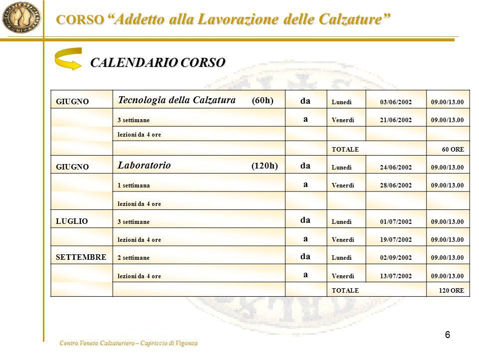 CALENDARIO CORSO Tecnologia della Calzatura (60h) Laboratorio (120h)