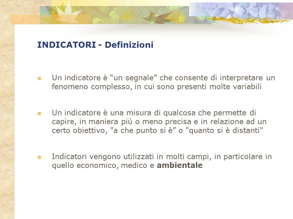 INDICATORI - Definizioni