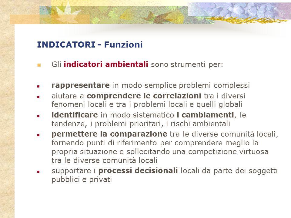 INDICATORI - Funzioni Gli indicatori ambientali sono strumenti per: