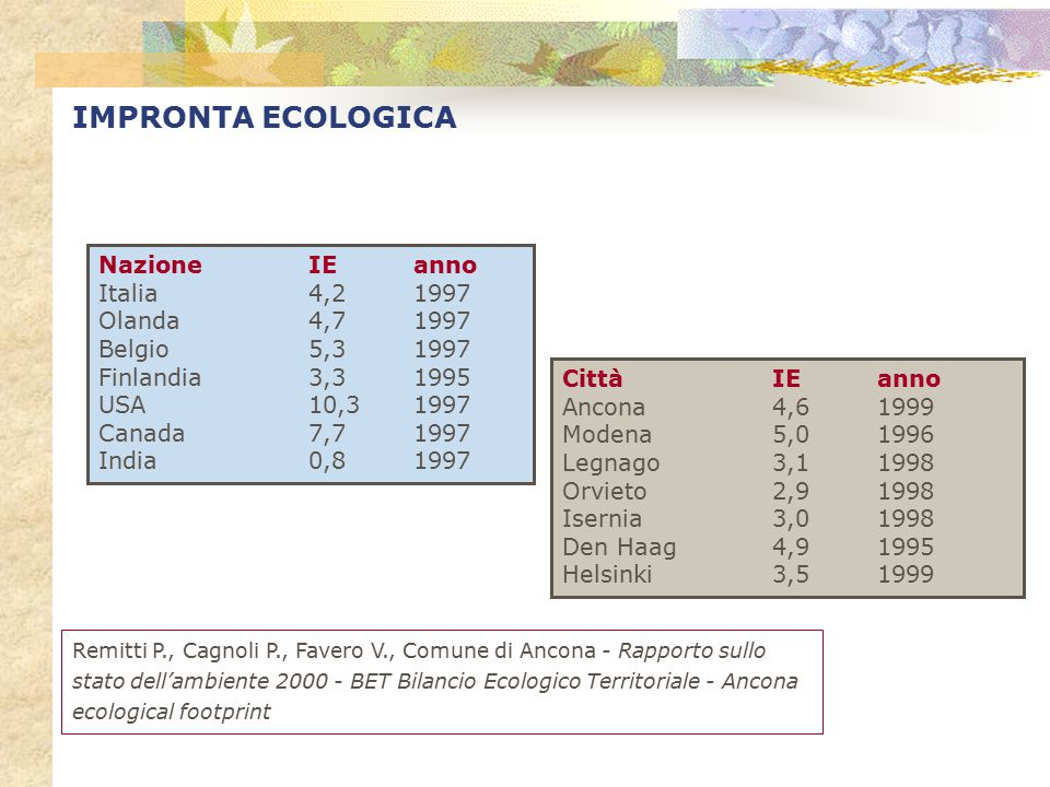 IMPRONTA ECOLOGICA Nazione IE anno Italia 4,2 1997 Olanda 4,7 1997