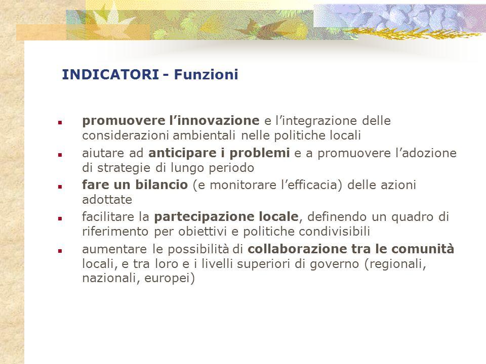 INDICATORI - Funzioni promuovere l'innovazione e l'integrazione delle considerazioni ambientali nelle politiche locali.