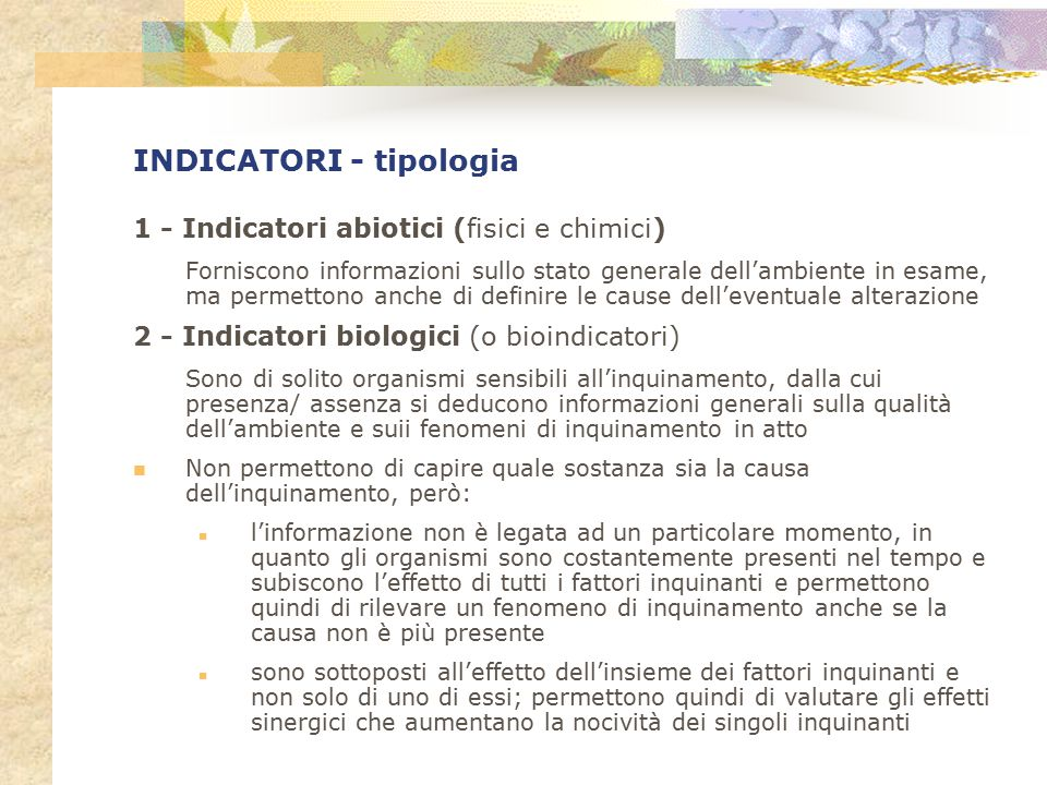 INDICATORI - tipologia