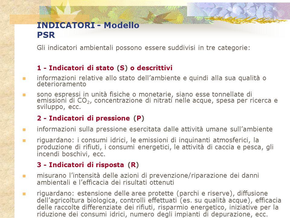 INDICATORI - Modello PSR