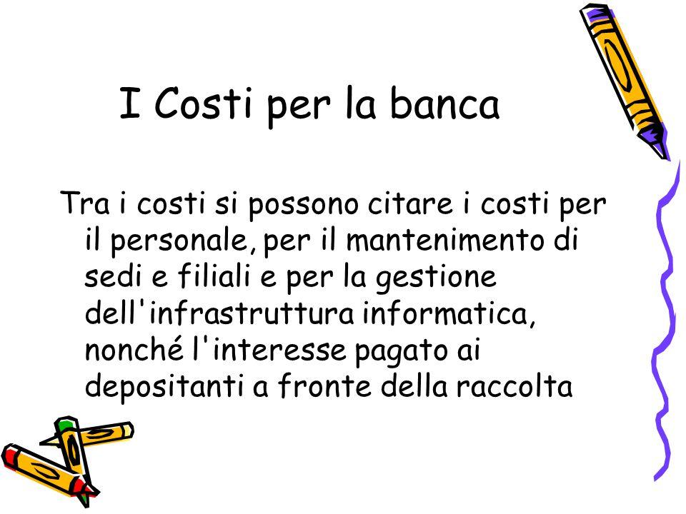 I Costi per la banca