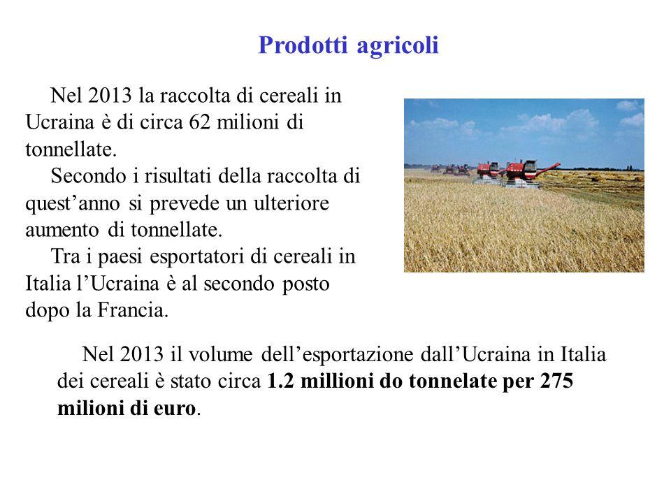 Prodotti agricoli Nel 2013 la raccolta di cereali in Ucraina è di circa 62 milioni di tonnellate.
