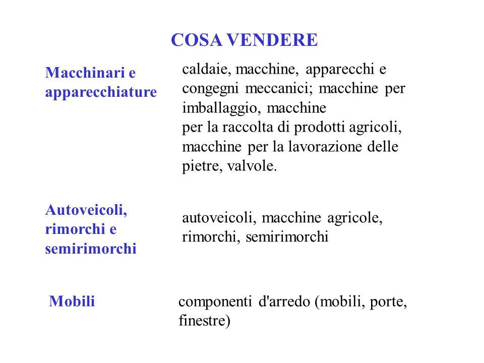 COSA VENDERE caldaie, macchine, apparecchi e congegni meccanici; macchine per imballaggio, macchine.