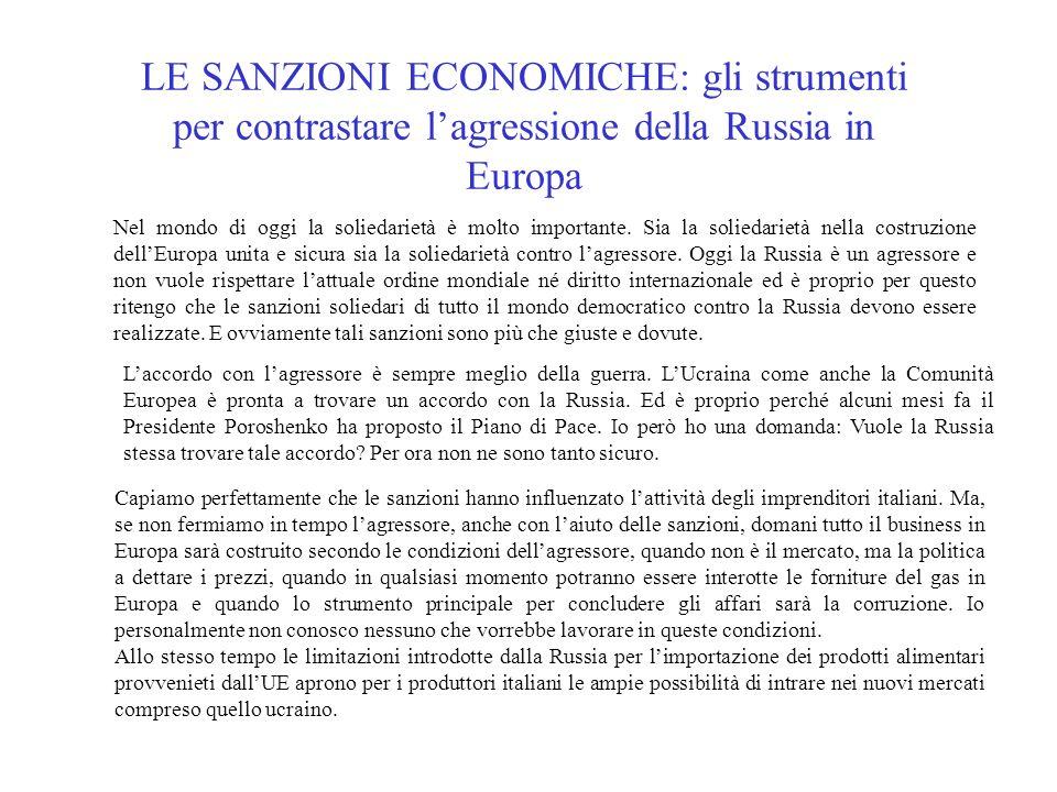 LE SANZIONI ECONOMICHE: gli strumenti per contrastare l'agressione della Russia in Europa