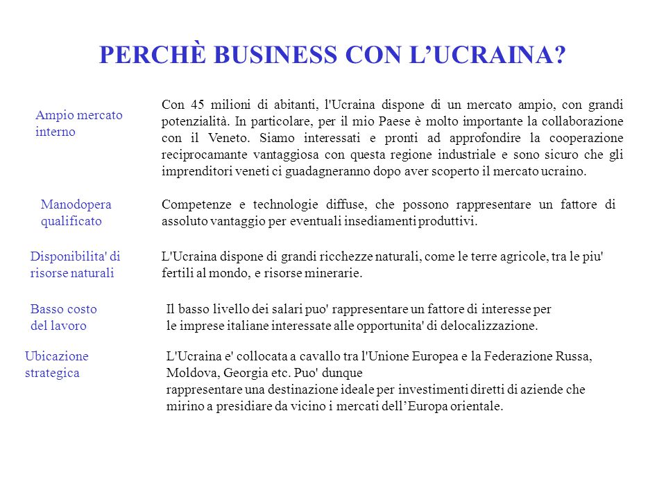 PERCHÈ BUSINESS CON L'UCRAINA