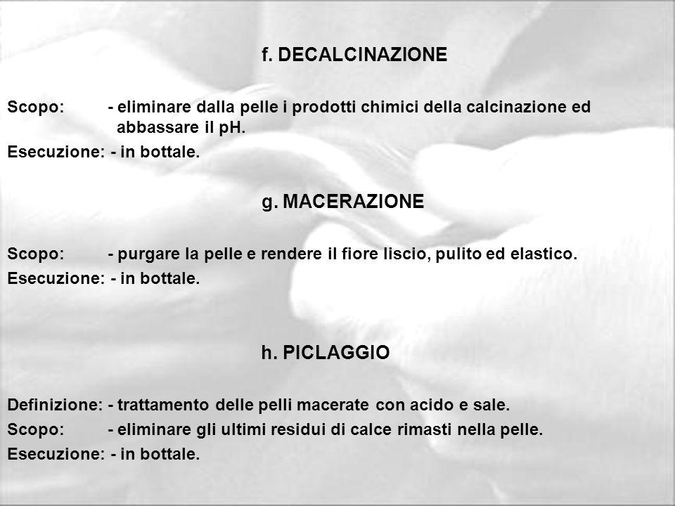 f. DECALCINAZIONE g. MACERAZIONE