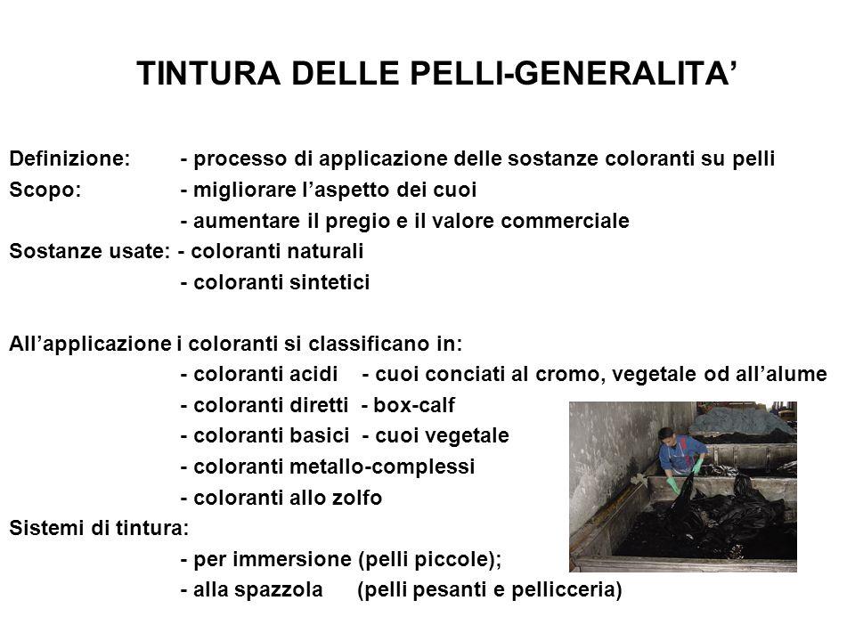 TINTURA DELLE PELLI-GENERALITA'