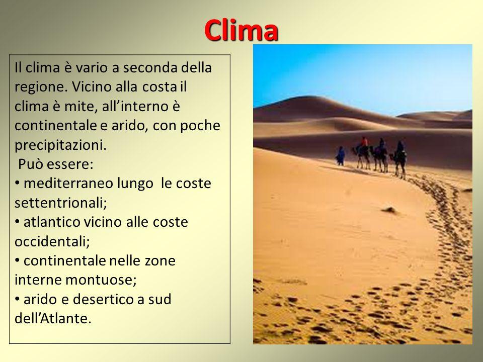 Clima Il clima è vario a seconda della regione. Vicino alla costa il clima è mite, all'interno è continentale e arido, con poche precipitazioni.
