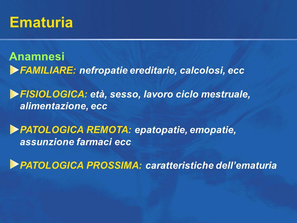Ematuria Anamnesi FAMILIARE: nefropatie ereditarie, calcolosi, ecc