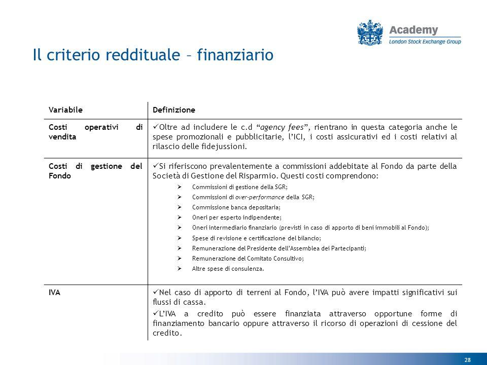 Il criterio reddituale – finanziario