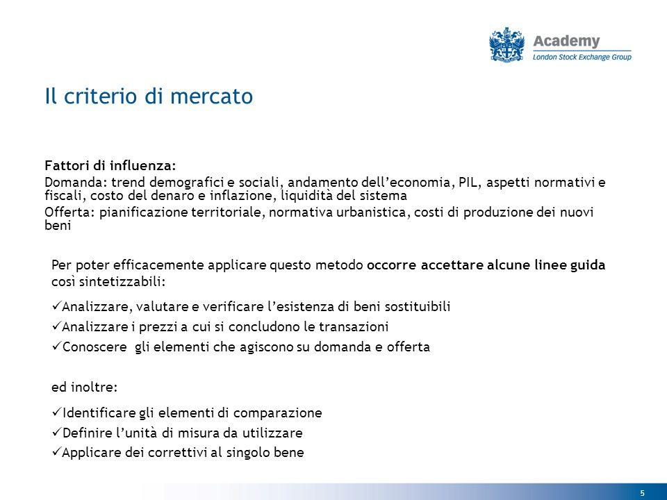 Il criterio di mercato Fattori di influenza:
