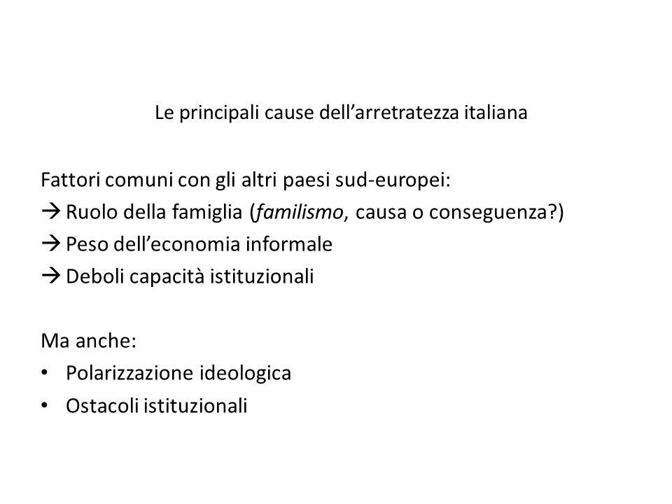 Le principali cause dell'arretratezza italiana