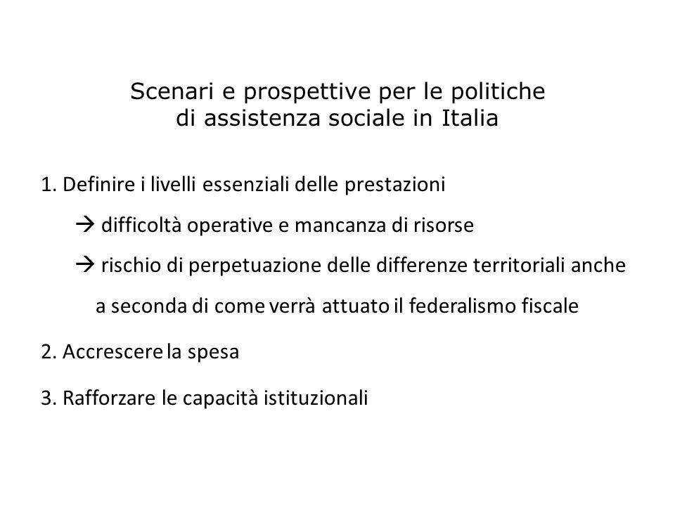 Scenari e prospettive per le politiche di assistenza sociale in Italia