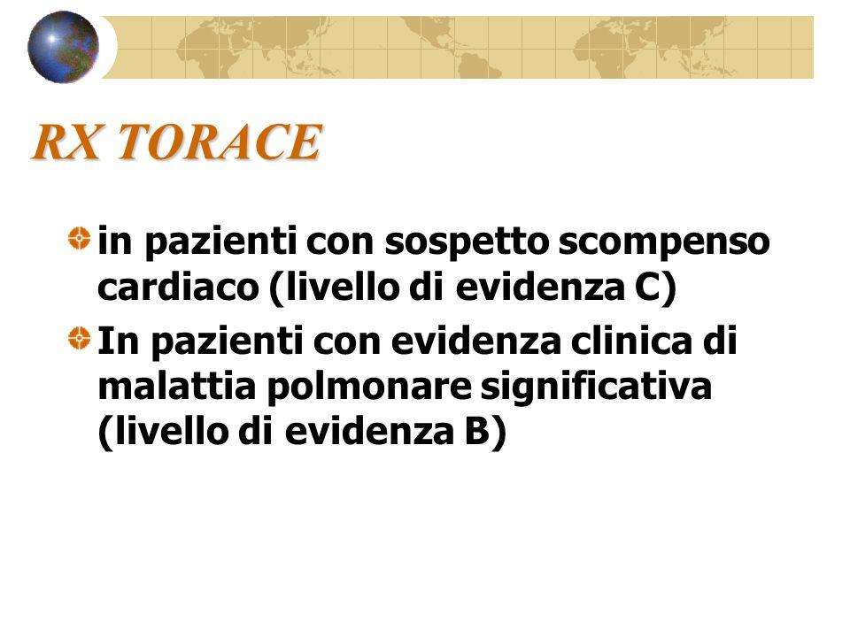 RX TORACE in pazienti con sospetto scompenso cardiaco (livello di evidenza C)