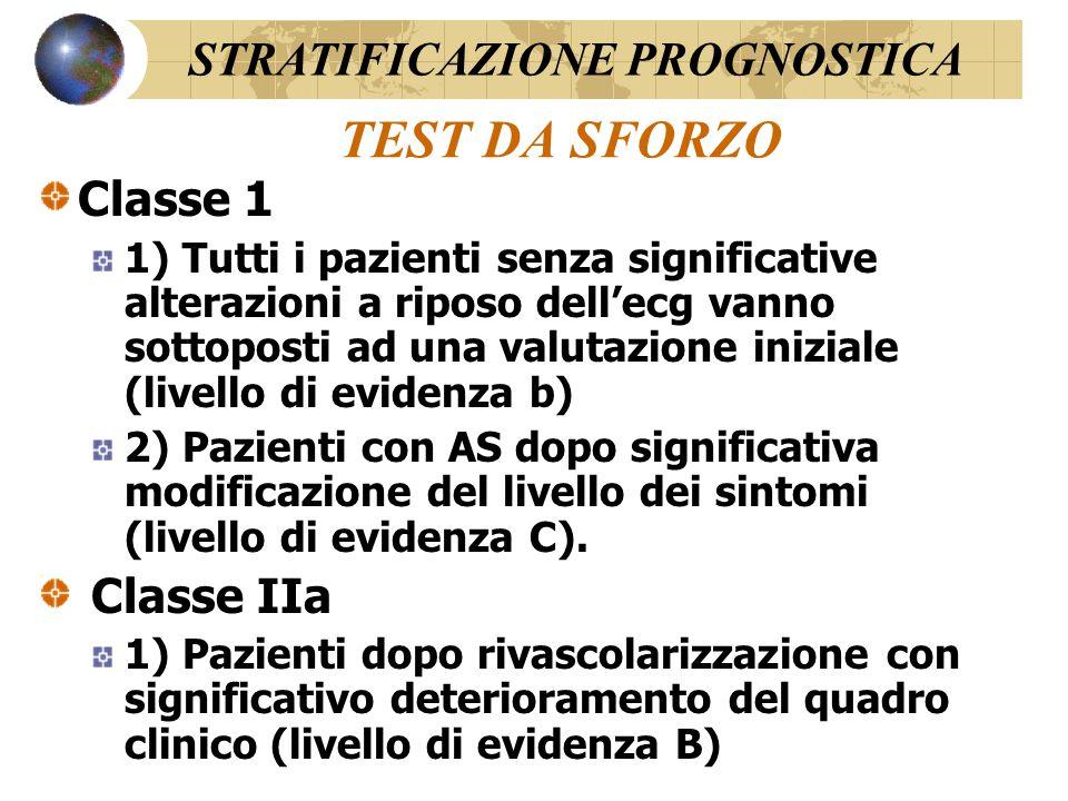 TEST DA SFORZO STRATIFICAZIONE PROGNOSTICA Classe 1 Classe IIa