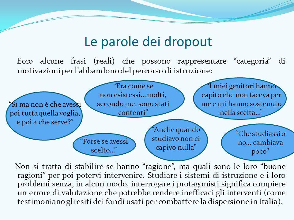Le parole dei dropout Ecco alcune frasi (reali) che possono rappresentare categoria di motivazioni per l'abbandono del percorso di istruzione: