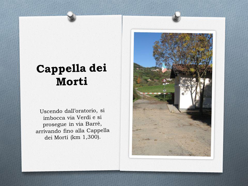 Cappella dei Morti Uscendo dall'oratorio, si imbocca via Verdi e si prosegue in via Barrè, arrivando fino alla Cappella dei Morti (km 1,300).