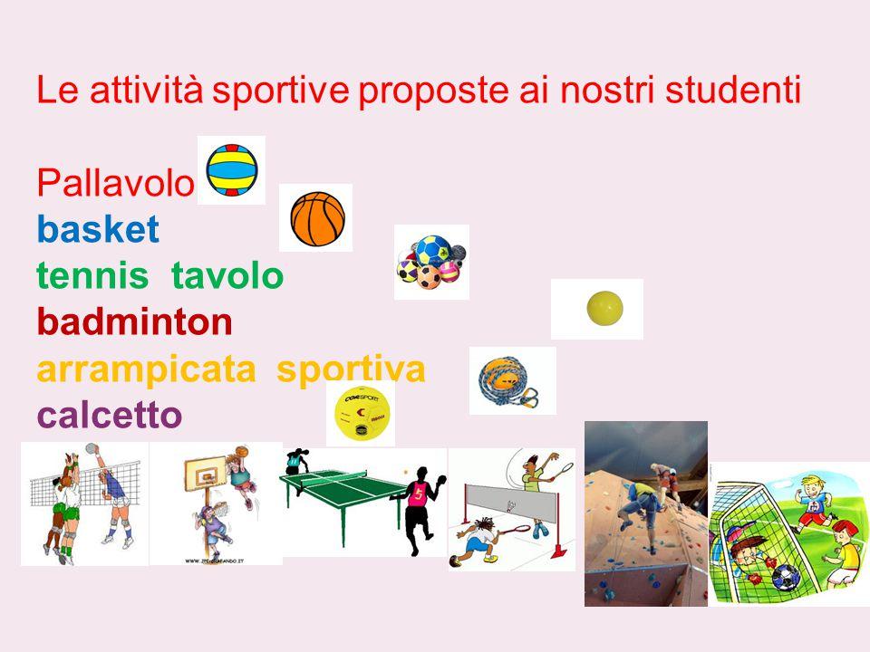 Le attività sportive proposte ai nostri studenti