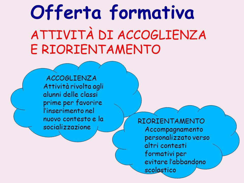 Offerta formativa ATTIVITÀ DI ACCOGLIENZA E RIORIENTAMENTO ACCOGLIENZA