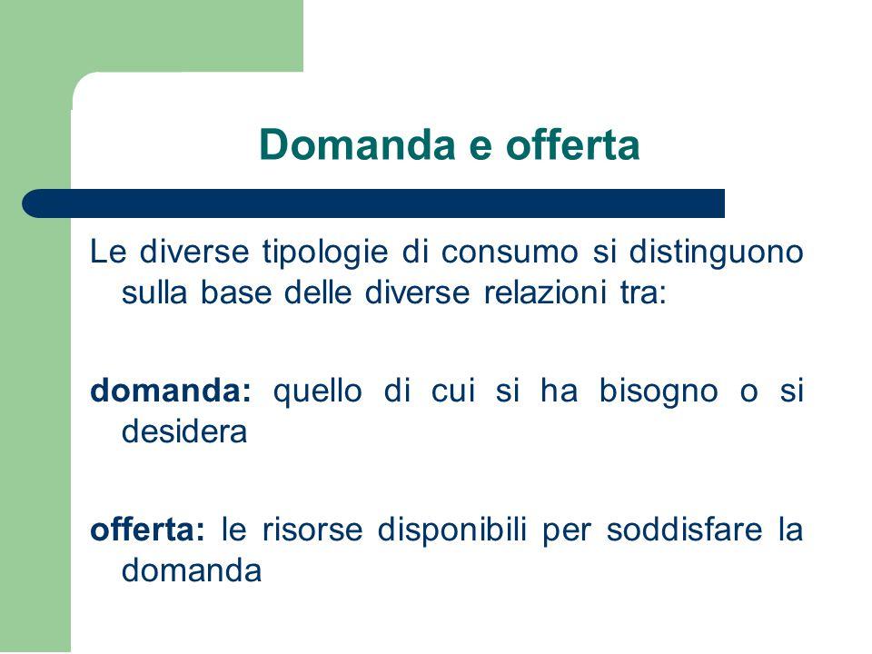 Domanda e offerta Le diverse tipologie di consumo si distinguono sulla base delle diverse relazioni tra: