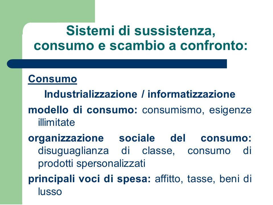 Sistemi di sussistenza, consumo e scambio a confronto:
