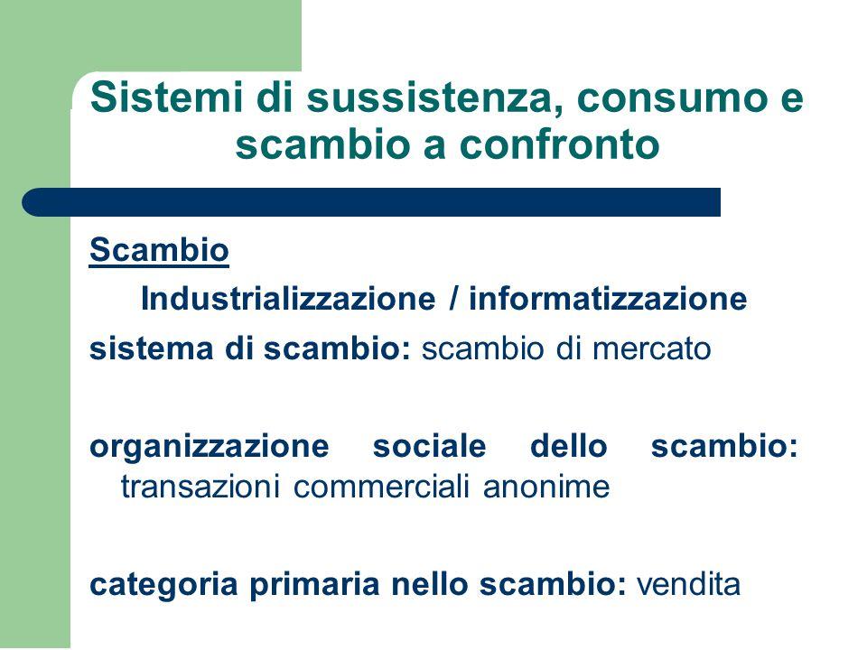 Sistemi di sussistenza, consumo e scambio a confronto