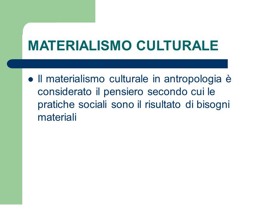 MATERIALISMO CULTURALE