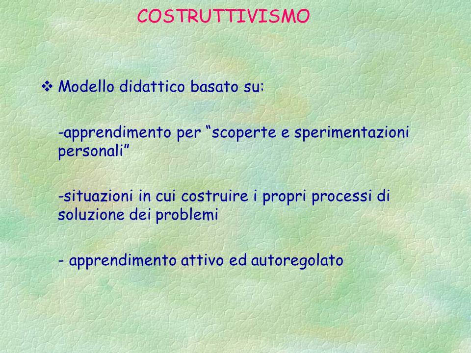 COSTRUTTIVISMO Modello didattico basato su: