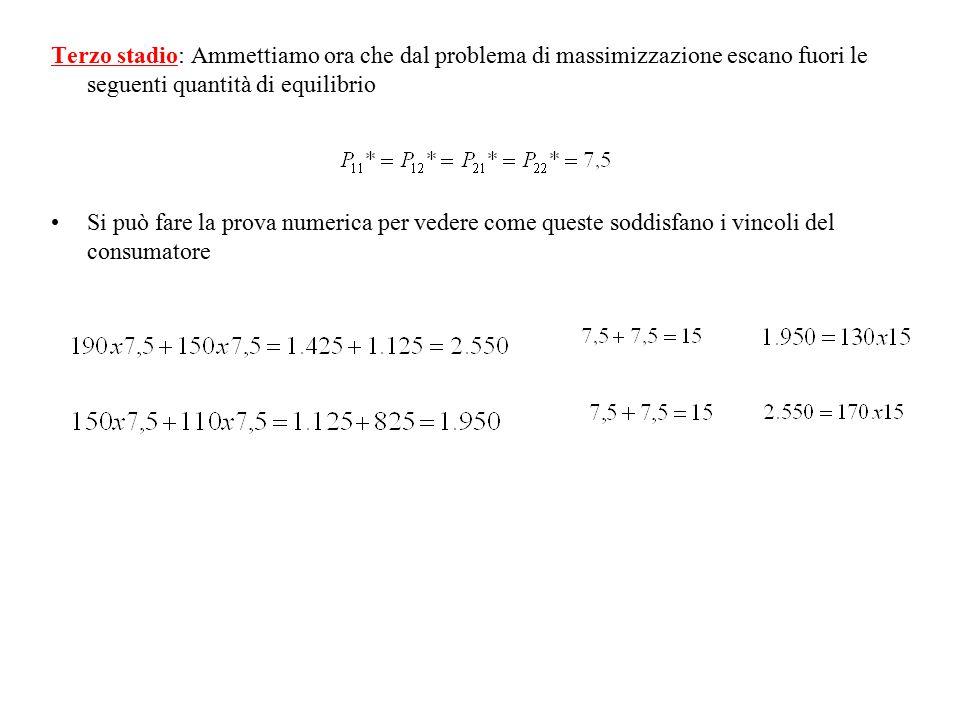 Terzo stadio: Ammettiamo ora che dal problema di massimizzazione escano fuori le seguenti quantità di equilibrio