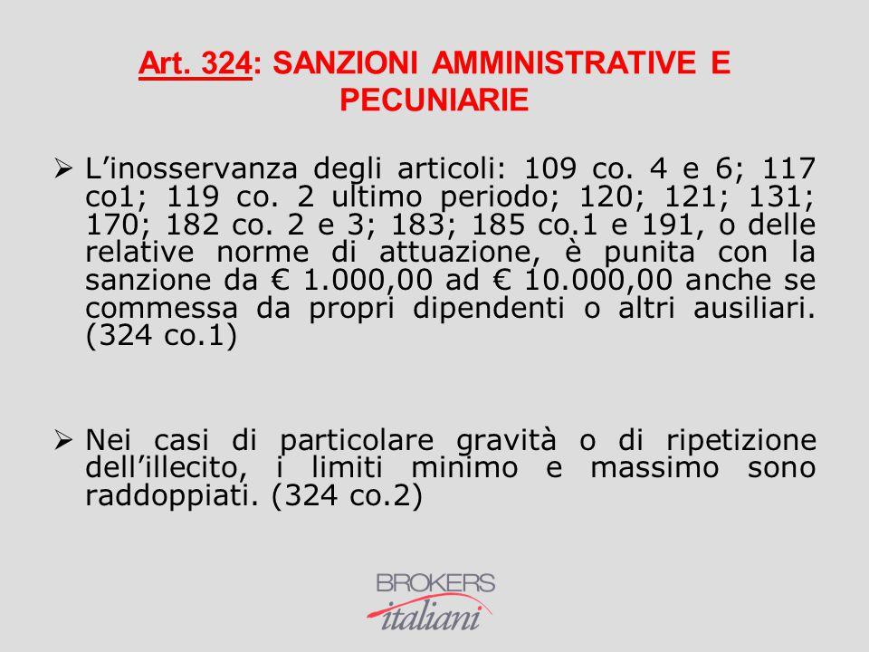 Art. 324: SANZIONI AMMINISTRATIVE E PECUNIARIE