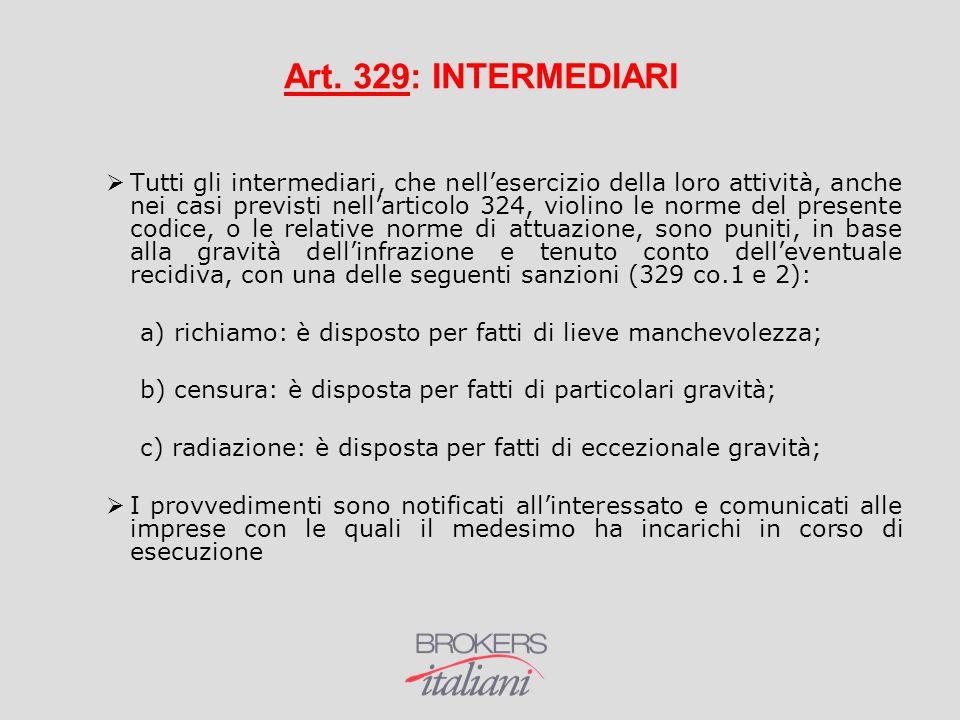 Art. 329: INTERMEDIARI
