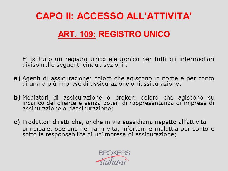 CAPO II: ACCESSO ALL'ATTIVITA'