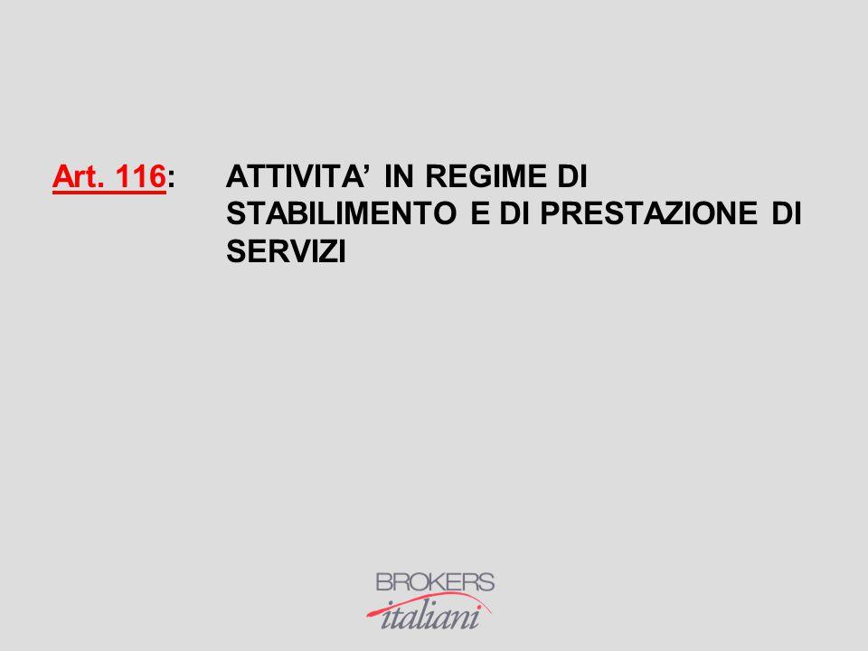 Art. 116:. ATTIVITA' IN REGIME DI. STABILIMENTO E DI PRESTAZIONE DI